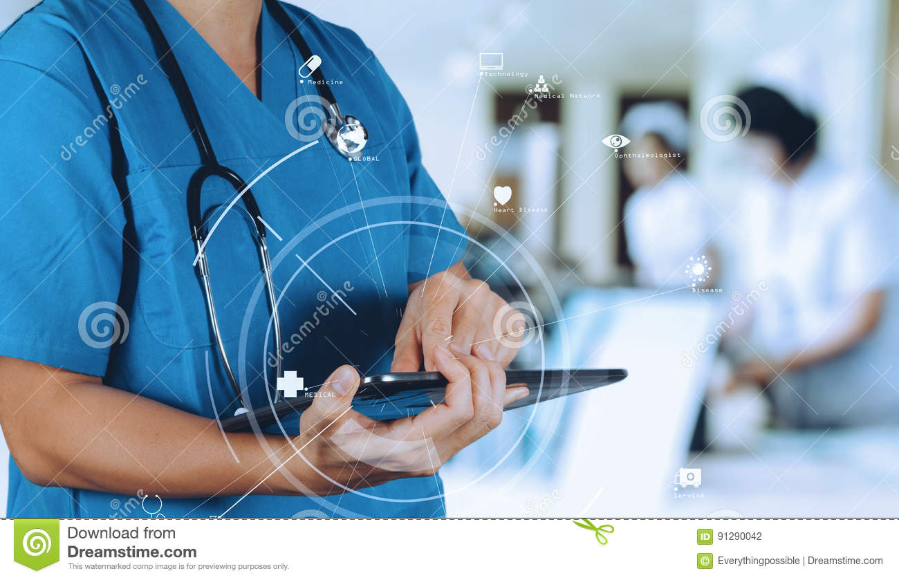 Medical technology concept.Smart Doctor using digital tablet com