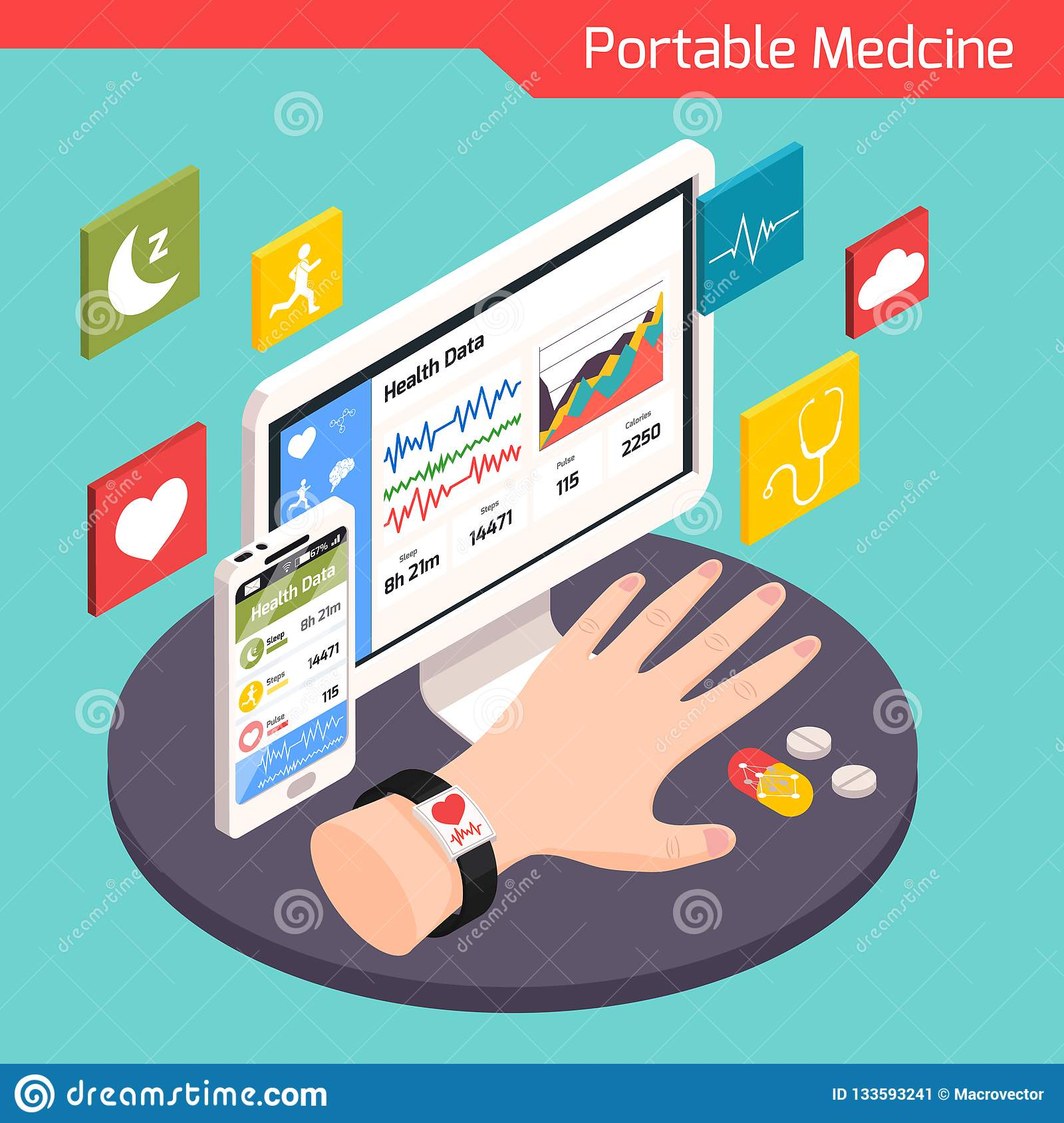 Medical Technology Isometric Composition