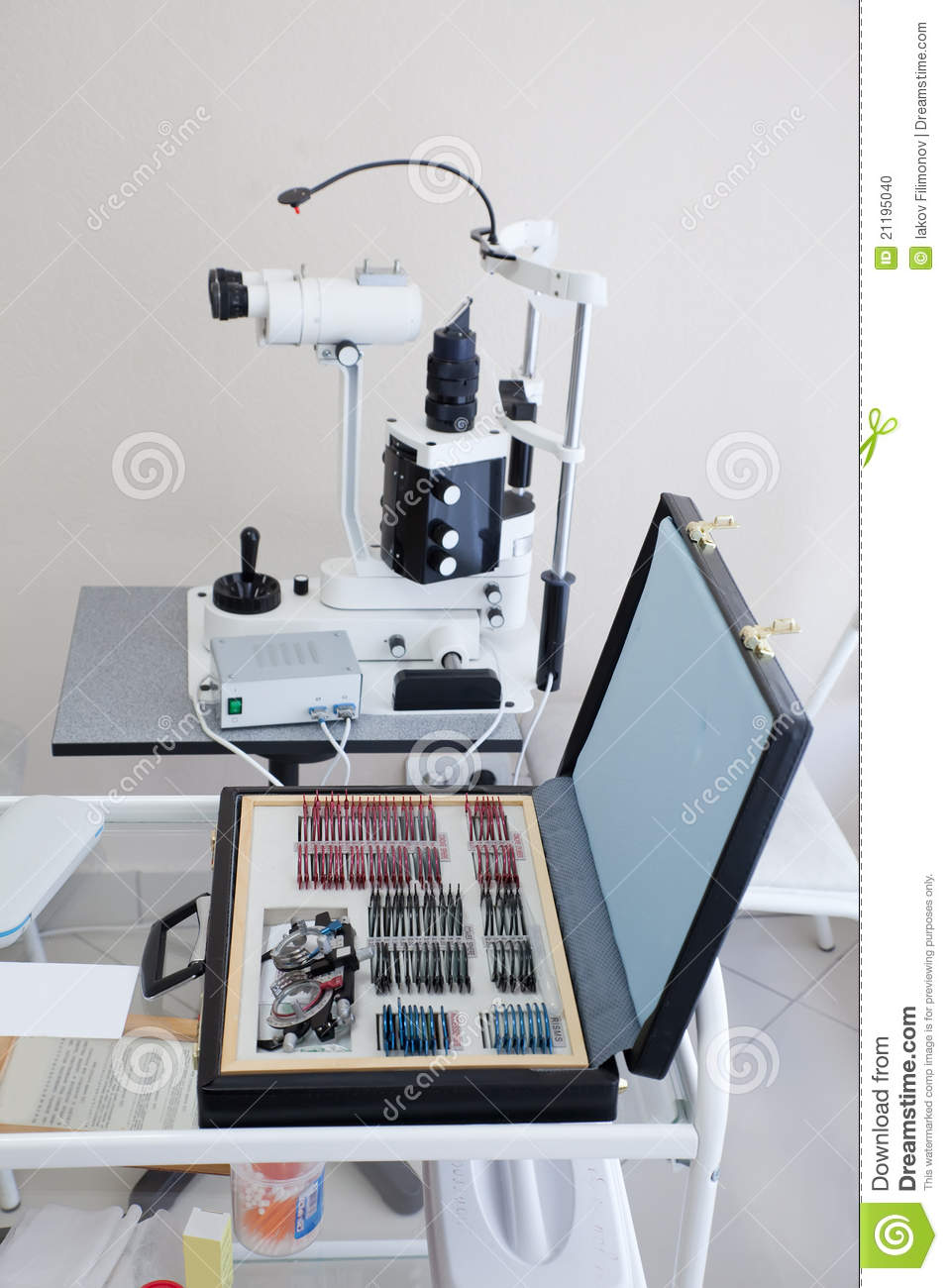 Medical tools in ophthalmologist room