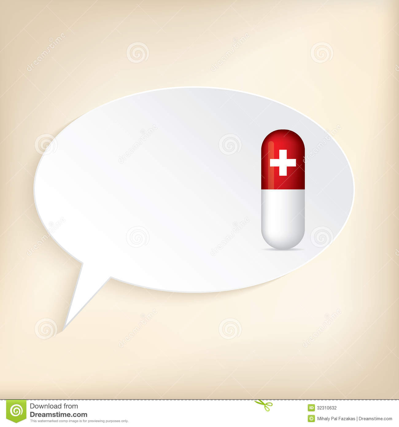 Medical wallpaper or background design with red pill and speech bubble