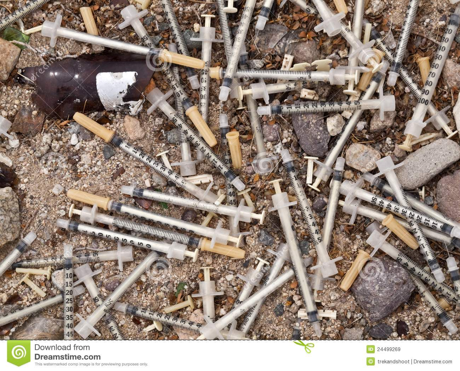 Medical Waste Syringe Dump stock image. Image of rubbish ...