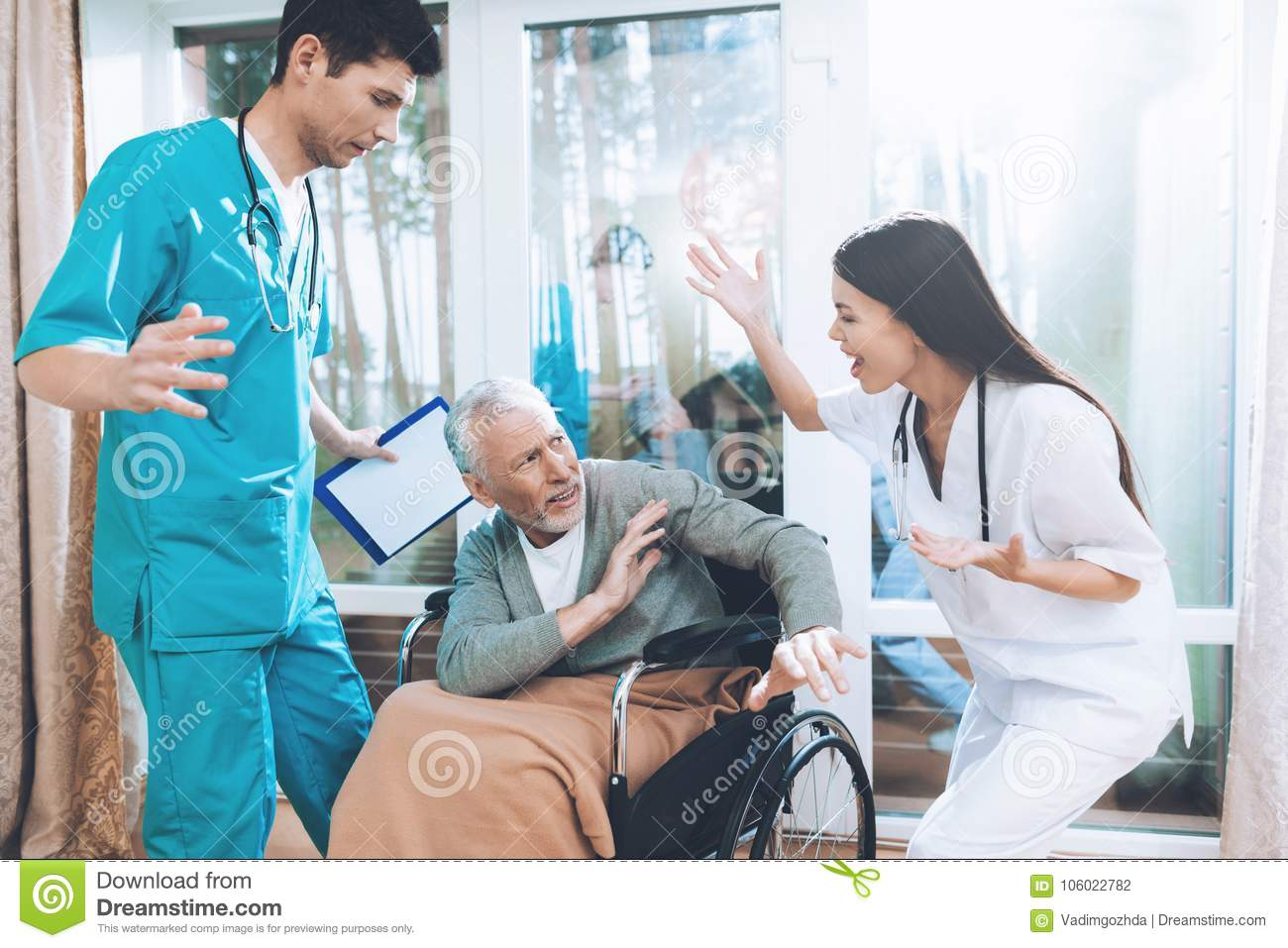 Medical Workers Argue With An Elderly Couple In A Nursing Home Stock Photo Image Of Home Doctor 106022782