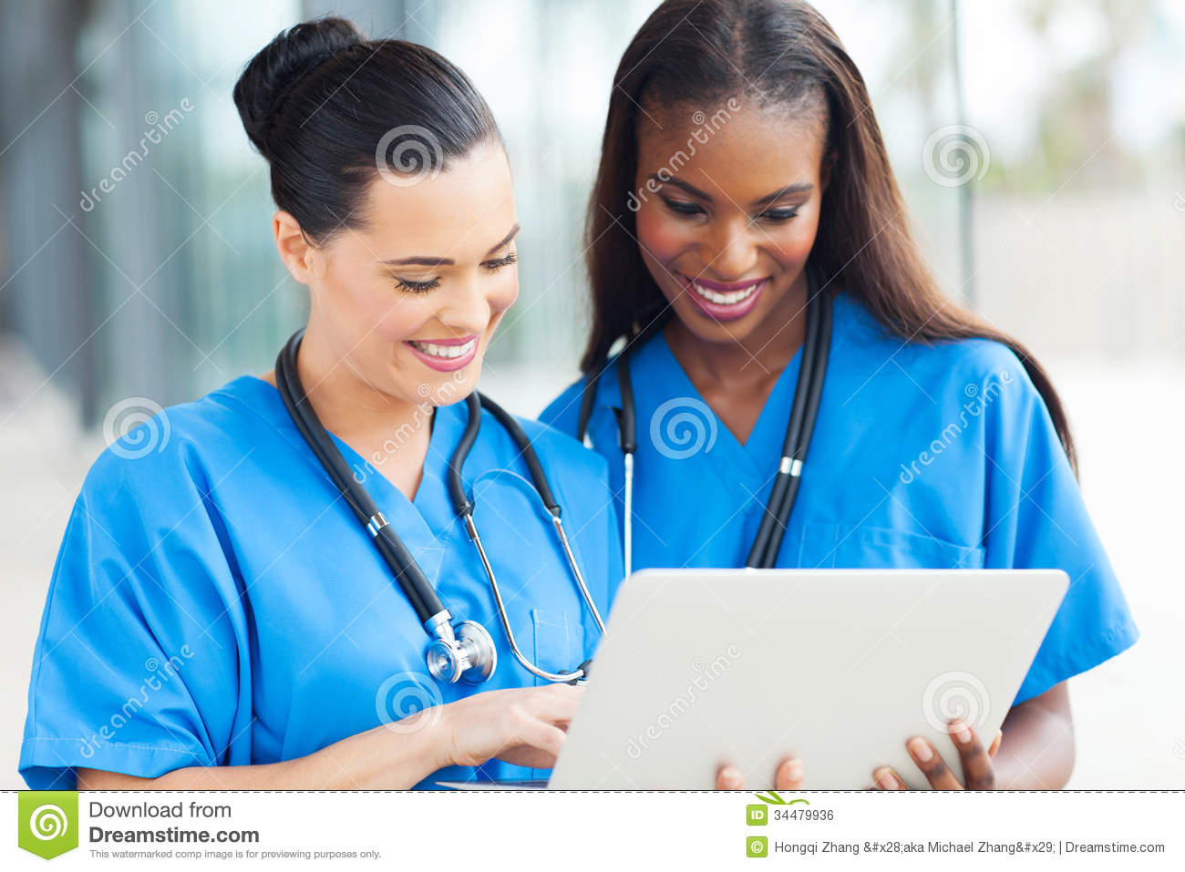Medical workers laptop