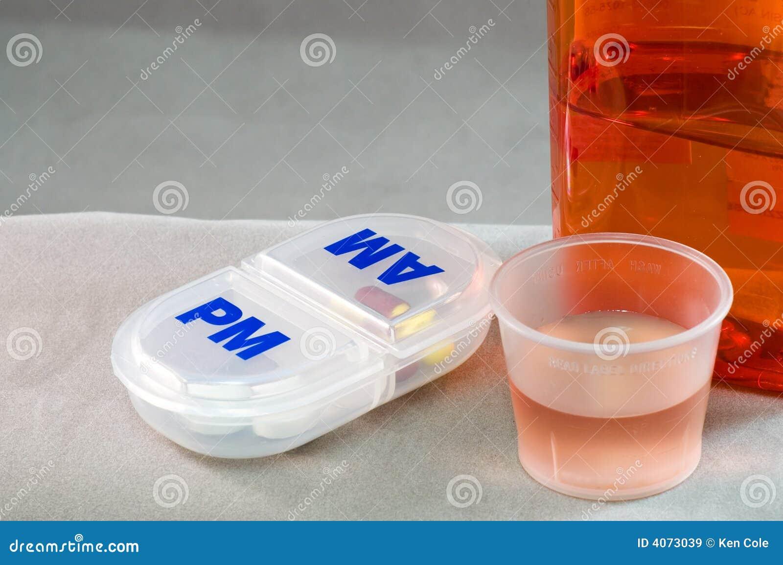 Medicamentação e comprimidos líquidos