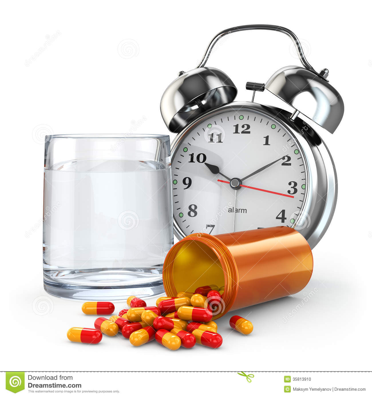 medication time pills water glass and alarm clock stock