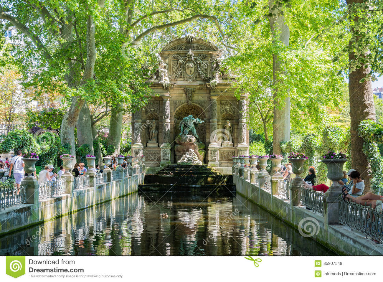 The Medici Fountain in the Luxembourg garden, Paris.
