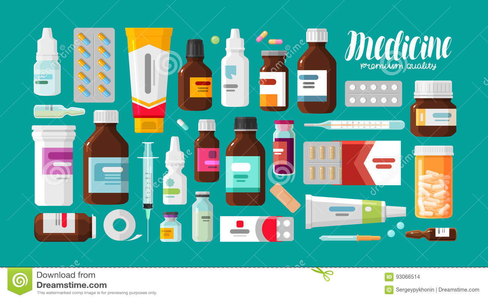 Medicin apotek, sjukhusuppsättning av droger med etiketter Läkarbehandling pharmaceuticsbegrepp också vektor för coreldrawillustr