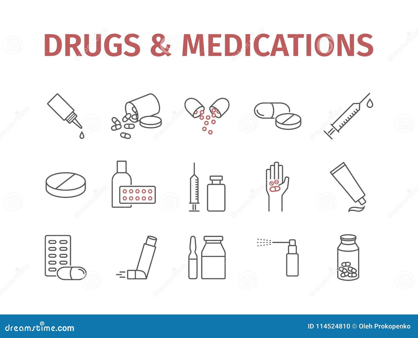Medicin förgiftar preventivpillerar Medicinska förnödenheterlinje symbolsuppsättning underteckna vektorn