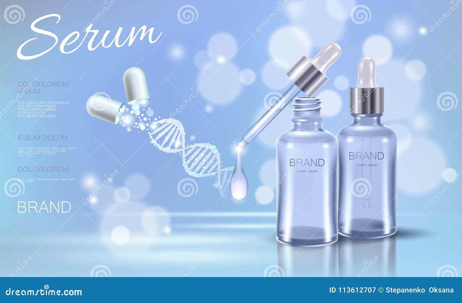 Medicina de incandescência cosmética da cápsula da droga do borrão do céu azul do cuidado da cara da composição do pacote da luz