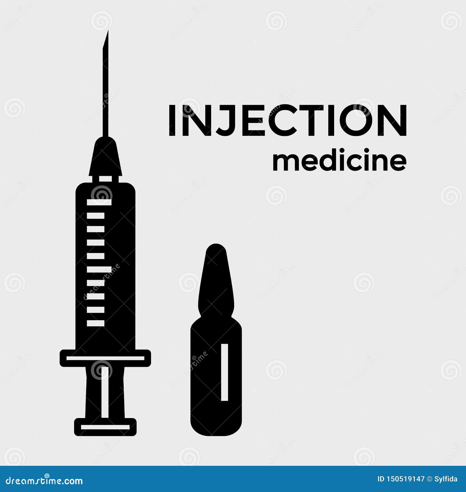 Medicina de la inyecci?n Icono de la jeringuilla y de la ampolla Vector