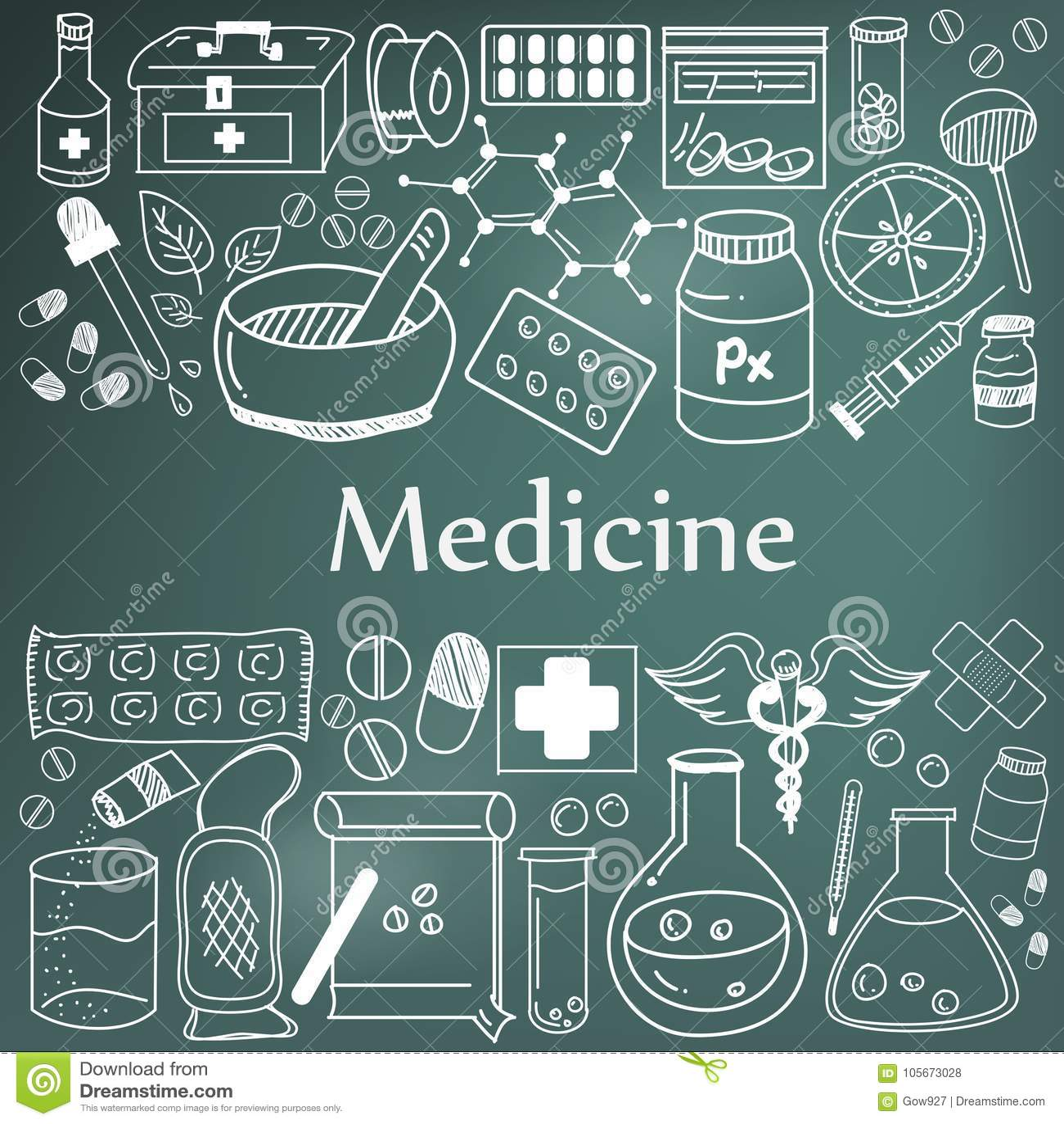 Medicina e iconos farmacéuticos de la escritura del garabato de la medicina