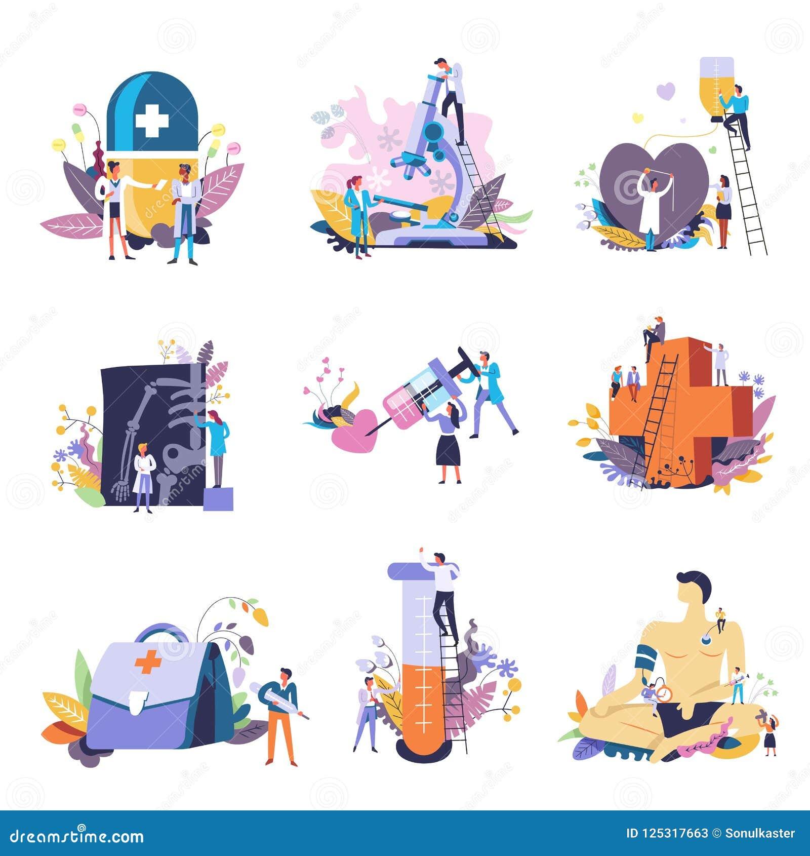 Medicina ed icone concettuali mediche Piccoli medici della gente di vettore con la grande siringa