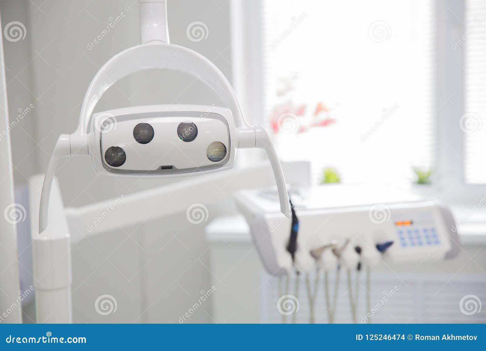 Medicina, estomatología, oficina dental de la clínica, equipamiento médico para la odontología