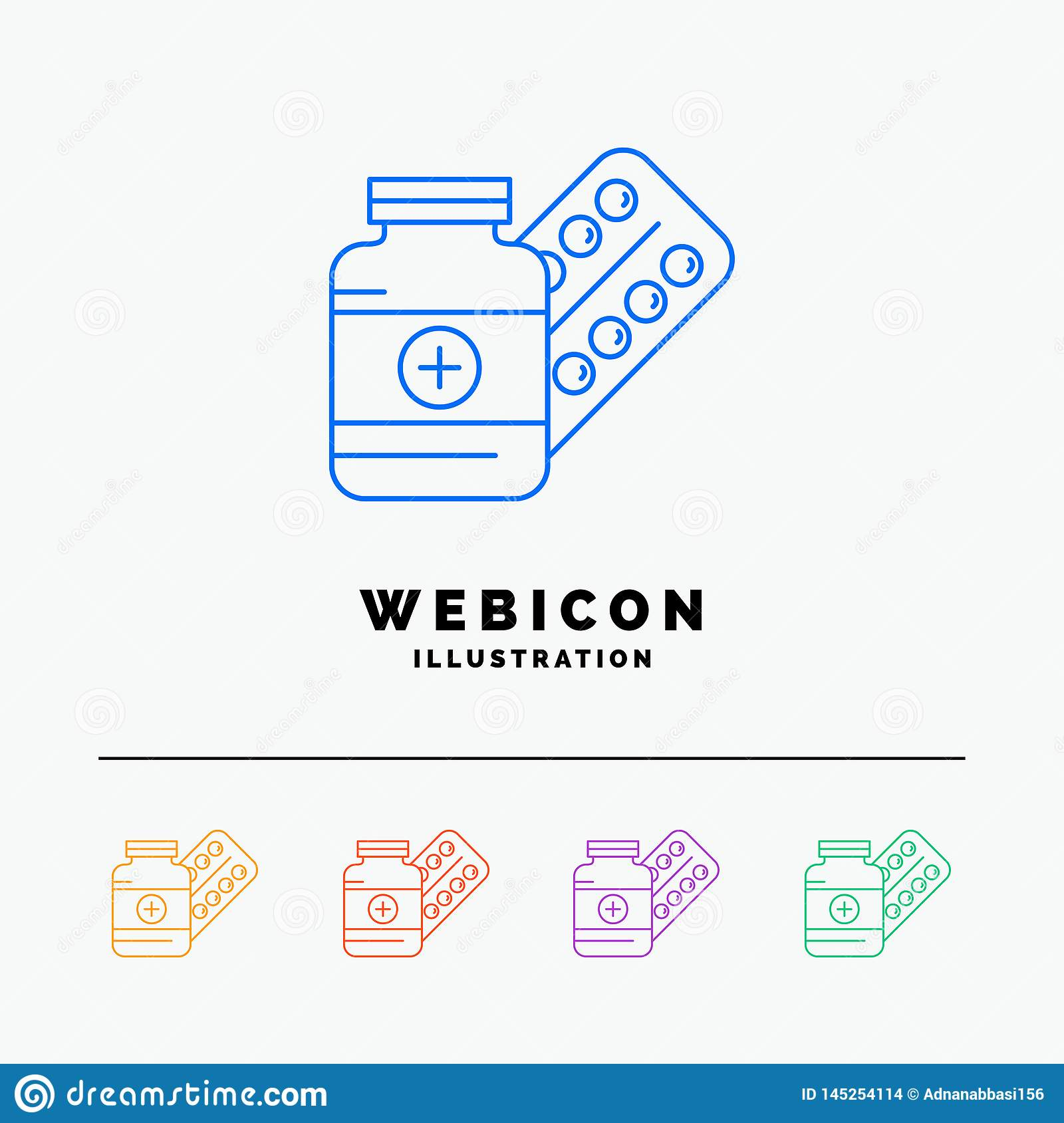 Medicina, píldora, cápsula, drogas, línea de color de la tableta 5 plantilla del icono de la web aislada en blanco Ilustraci?n de