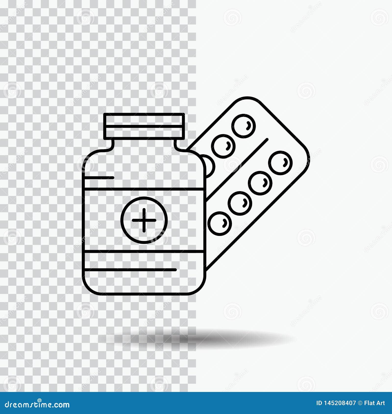 Medicina, píldora, cápsula, drogas, línea icono de la tableta en fondo transparente Ejemplo negro del vector del icono