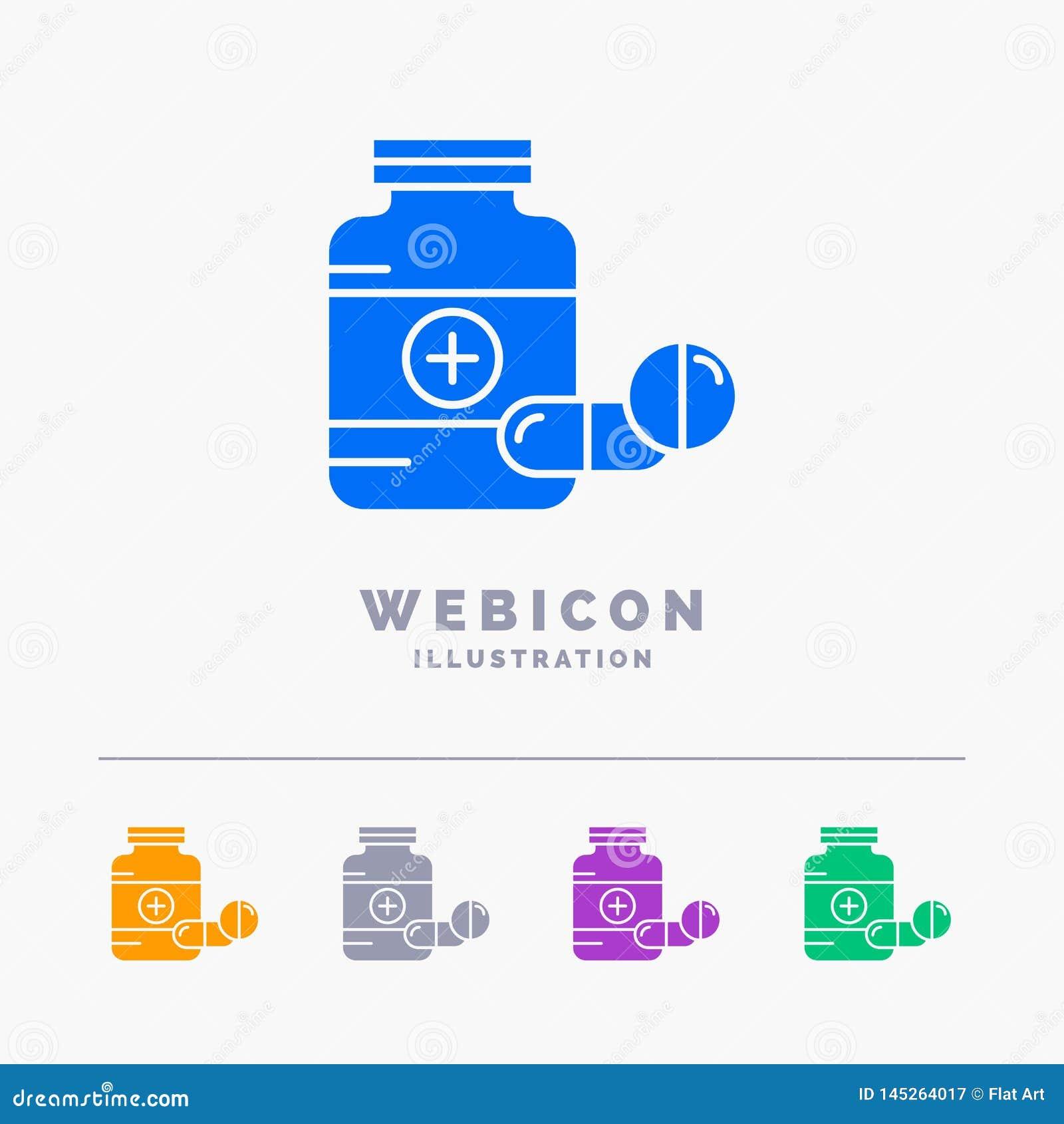 Medicina, pillola, capsula, droghe, modello dell icona di web di glifo di colore della compressa 5 isolato su bianco Illustrazion