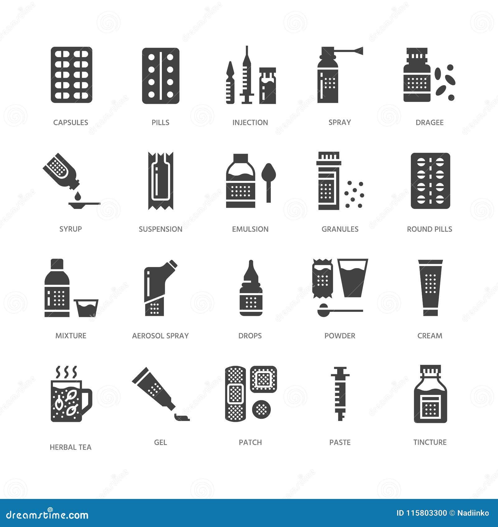 Medicinas, iconos del glyph de las formas de dosificación Farmacia, tableta, cápsulas, píldoras, antibióticos, vitaminas, calmant