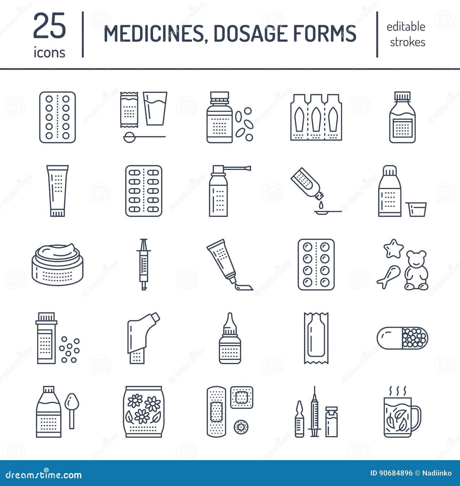Medicinas, línea iconos de las formas de dosificación Medicamentos de la farmacia, tableta, cápsulas, píldoras, antibióticos, vit