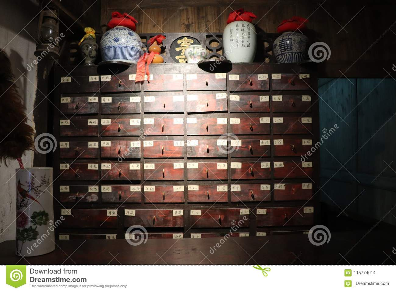 Download Medicine Cabinet Of Chinese Medicine Museum Stock Photo   Image Of  Afford, Families: