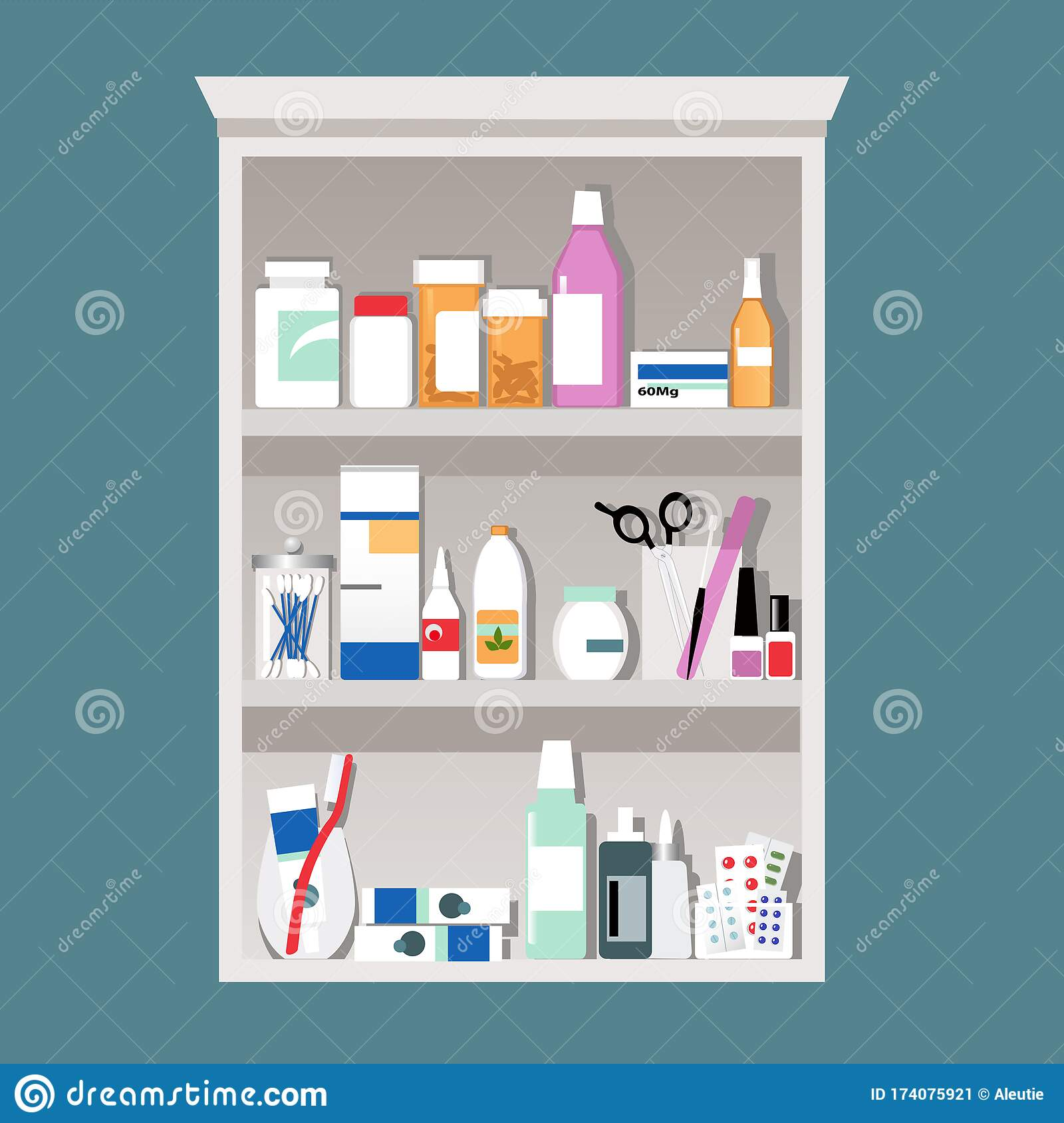 Medicine Cabinet Open Stock Vector Illustration Of Controlled 174075921