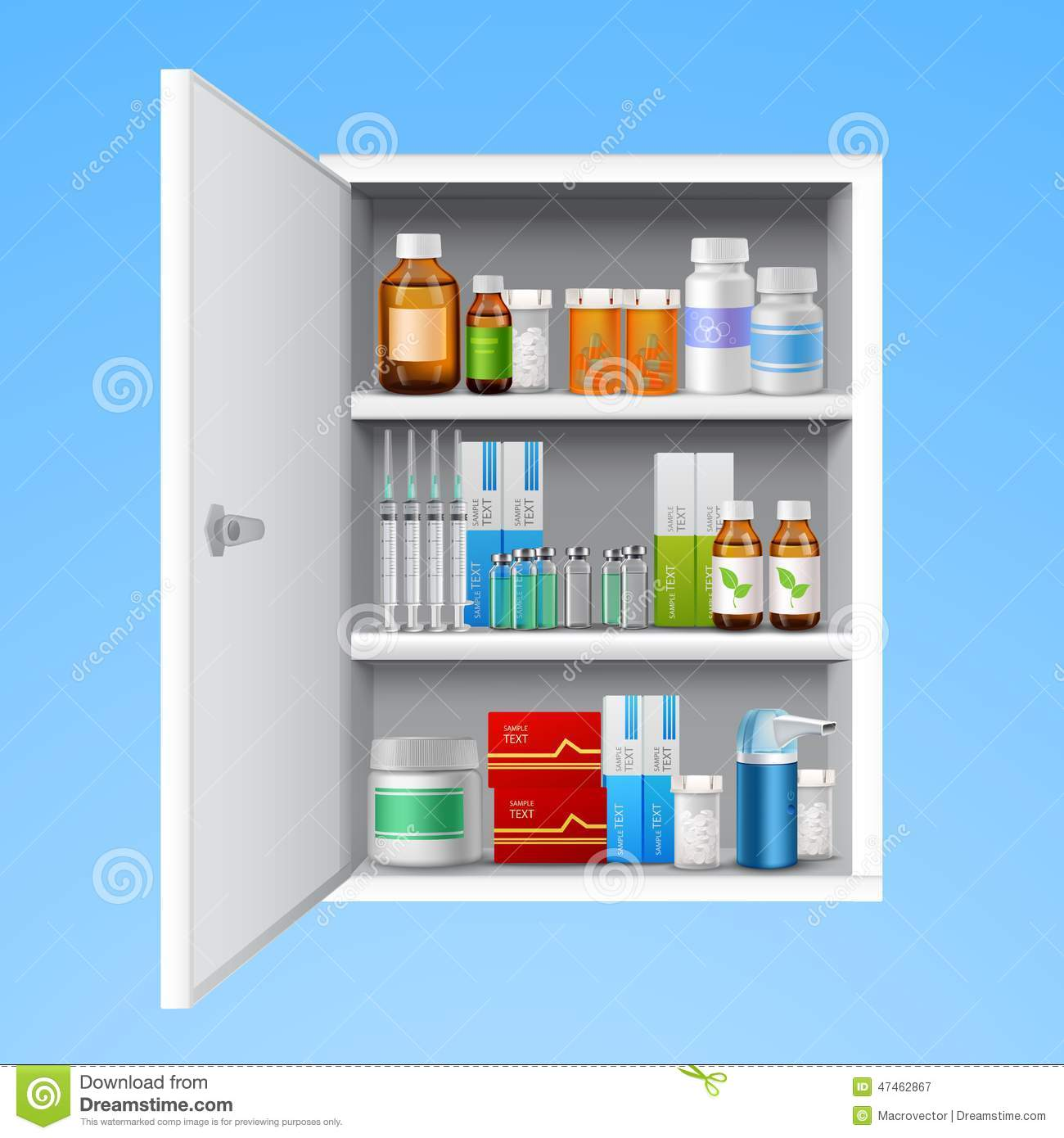 Medicine Cabinet Realistic Stock Vector Illustration Of