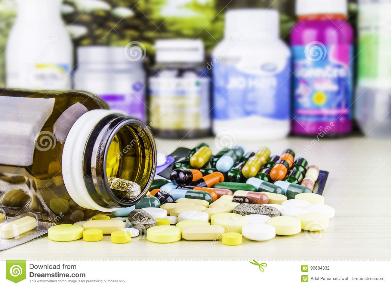 Medicine or capsules. Drug prescription for treatment medication. Pharmaceutical medicament, cure in container for health. Pharmac
