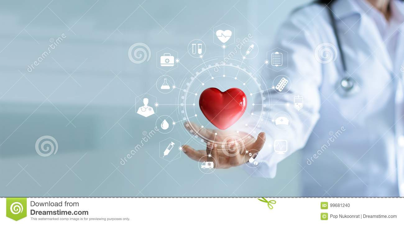 Download Medicine Doctor Holding Red Heart Shape With Medical Icon Network Stock Photo - Image of data, network: 99681240