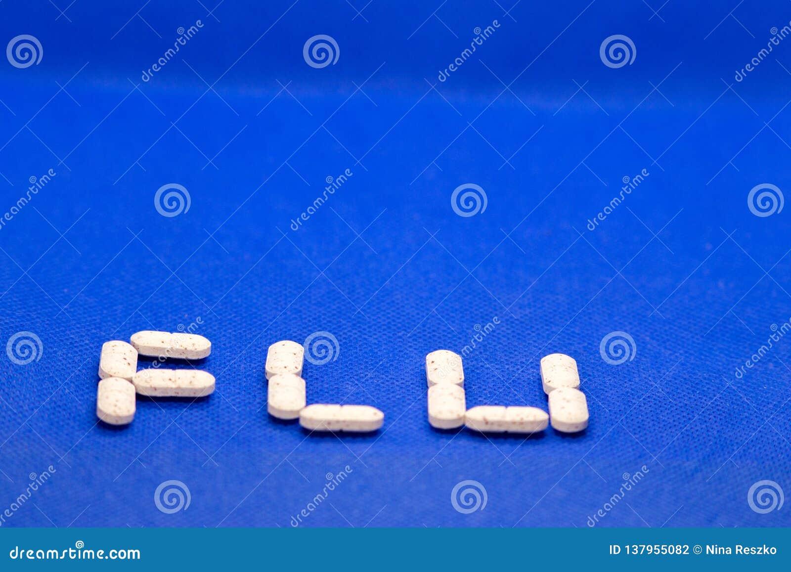 Set Of Cold Medicine And Flu Virus On Blue Background