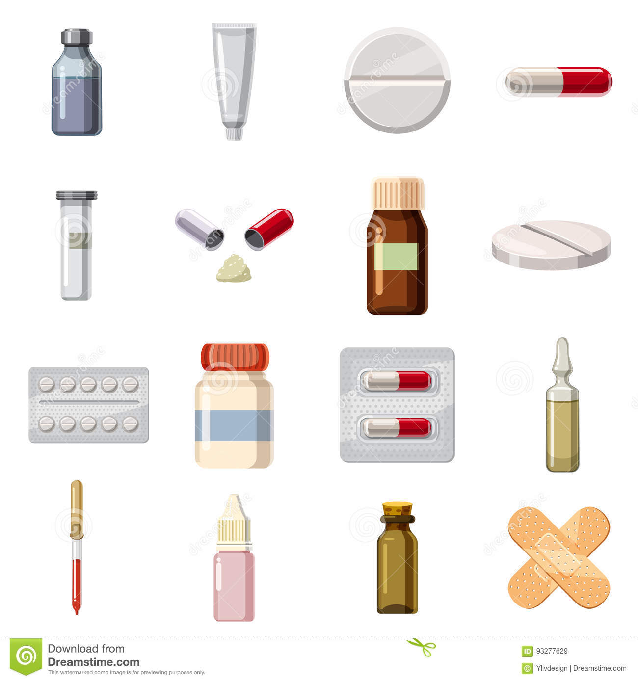Medicine Drugs Types Icons Set, Cartoon Style Stock Vector