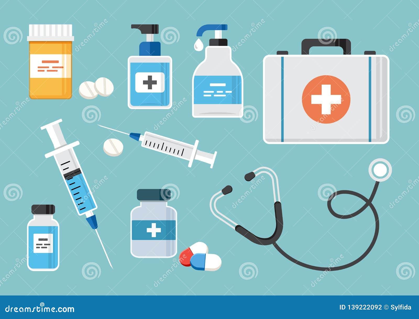 Medicine set. Vector illustration