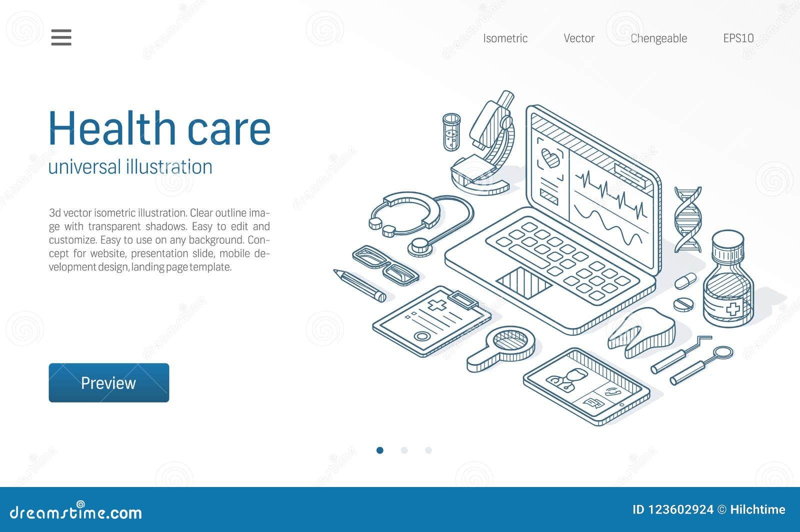 Medicine Healthcare Modern Isometric Line Illustration Abstract 3d