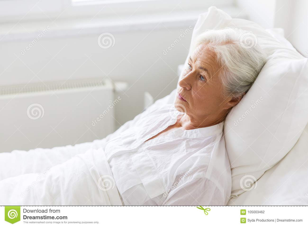 Image of: Portrait Medicine Healthcare And Old People Concept Sad Senior Woman Lying On Bed At Hospital Ward Dreamstimecom Sad Senior Woman Lying On Bed At Hospital Ward Stock Photo Image