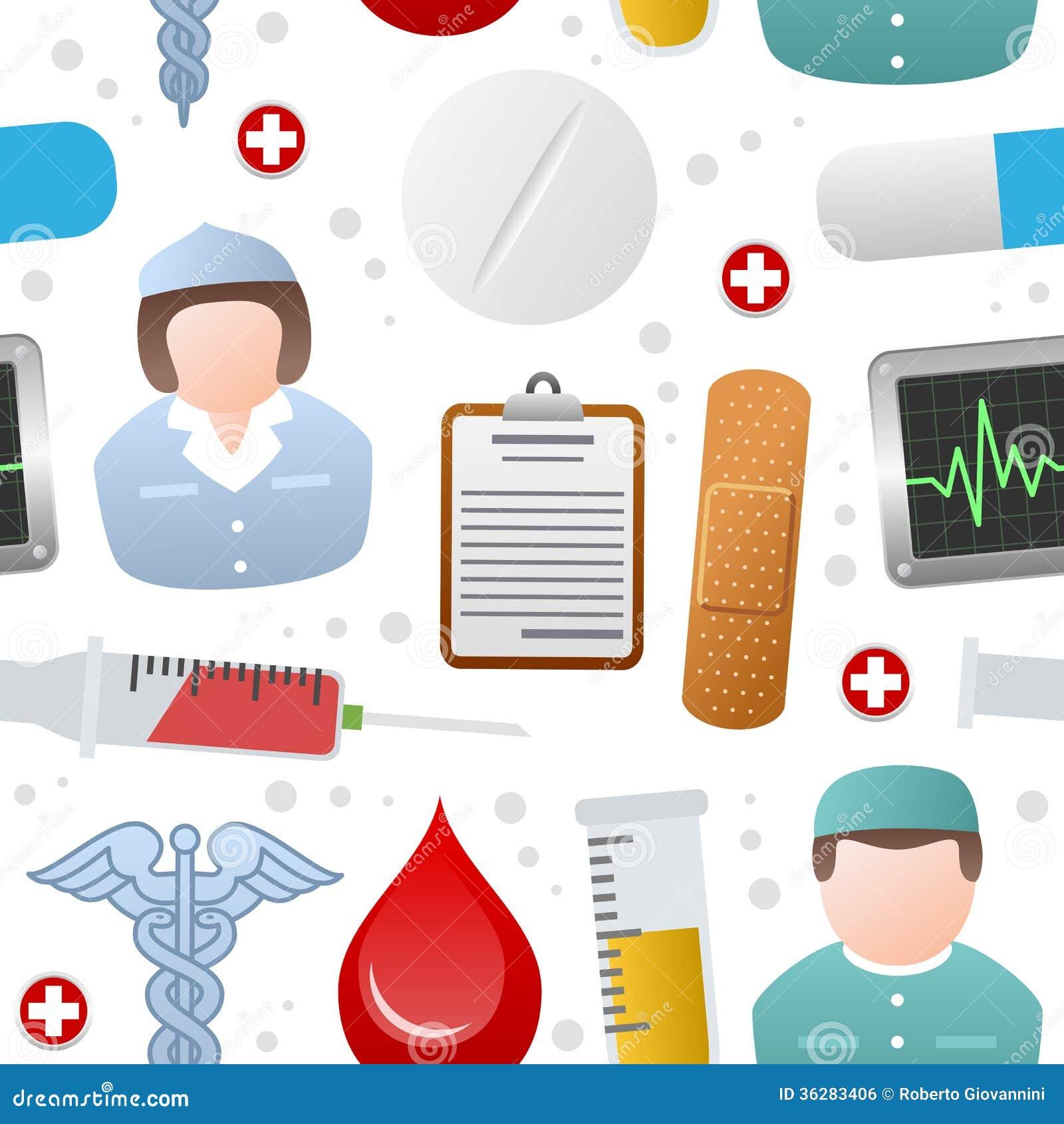 Medicine Icons Seamless Pattern