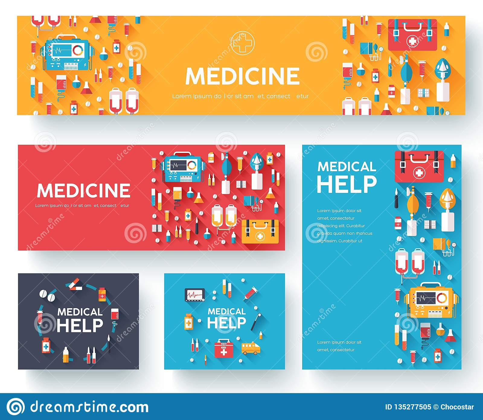 Medicine information cards set. Medical template of flyear, magazines, posters, book cover. Clinical infographic concept on