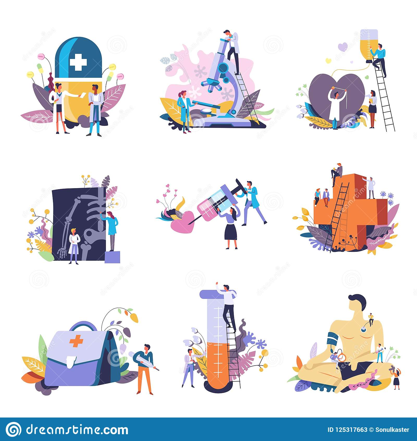 Medicine and medical conceptual icons. Vector small people doctors with big syringe