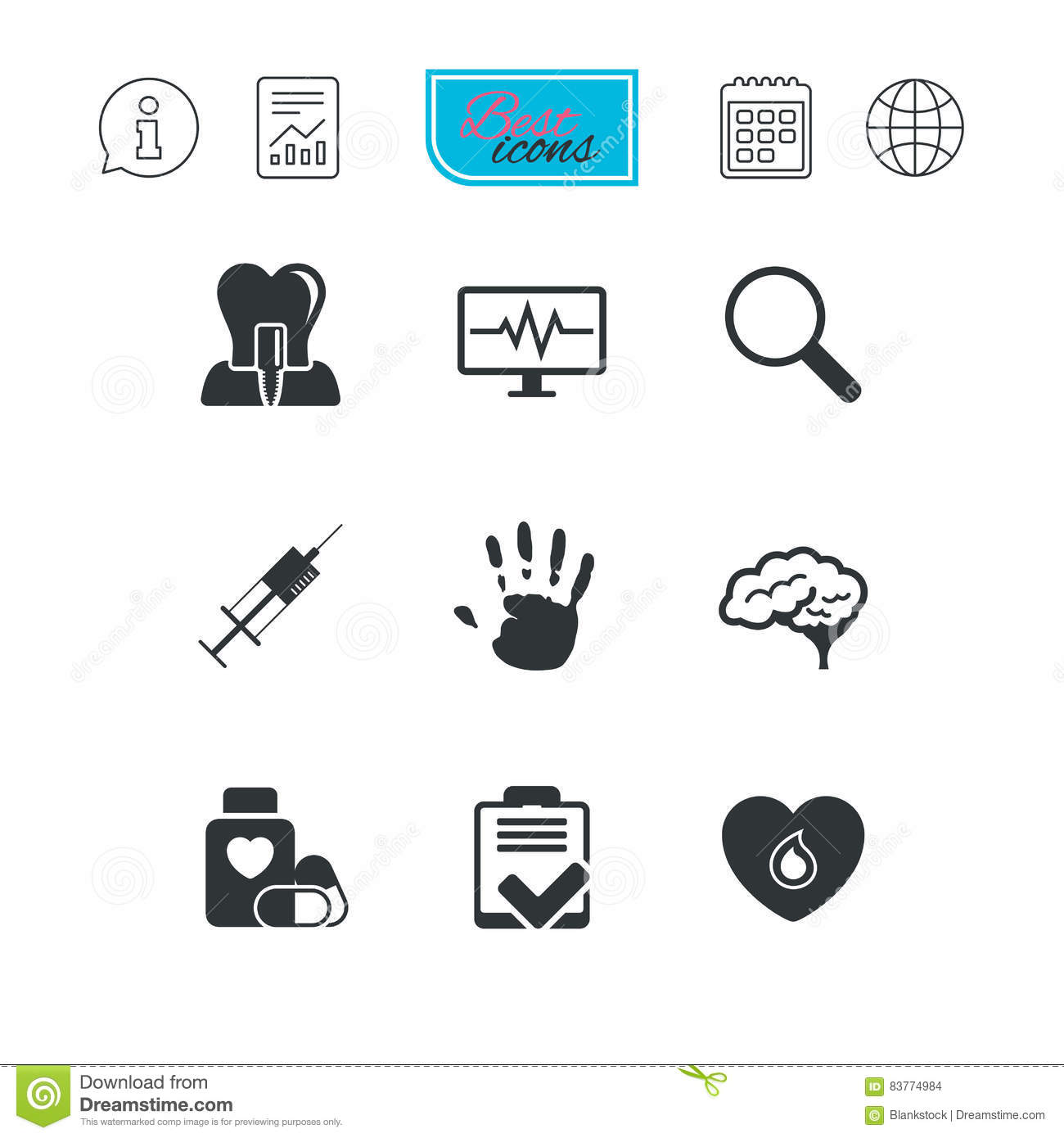 Medicine Medical Health And Diagnosis Icons Stock Vector