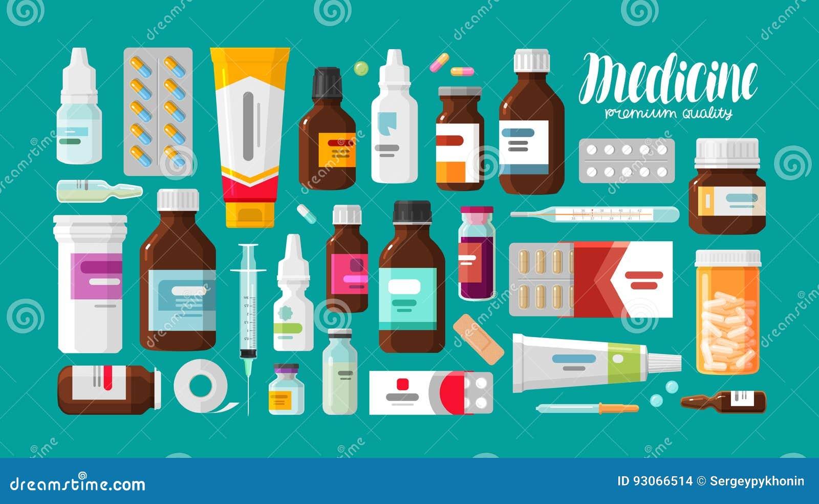 Medicine, pharmacy, hospital set of drugs with labels. Medication, pharmaceutics concept. Vector illustration