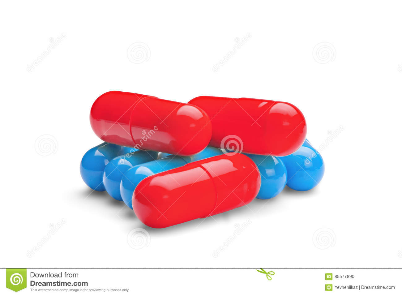 Medicine Red Pills Or Capsules On White Background With