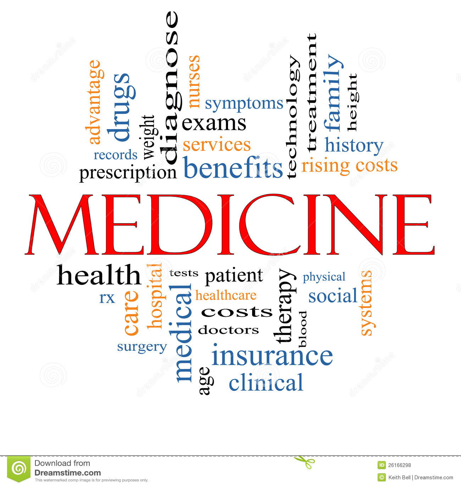medicine word cloud concept stock illustration