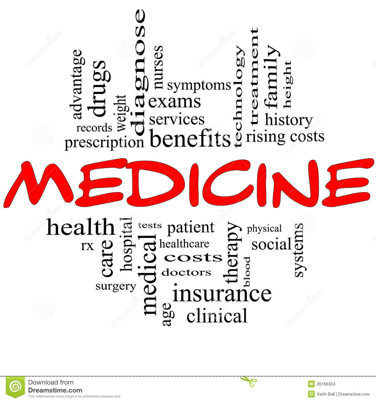 medicine word cloud concept in red and black stock