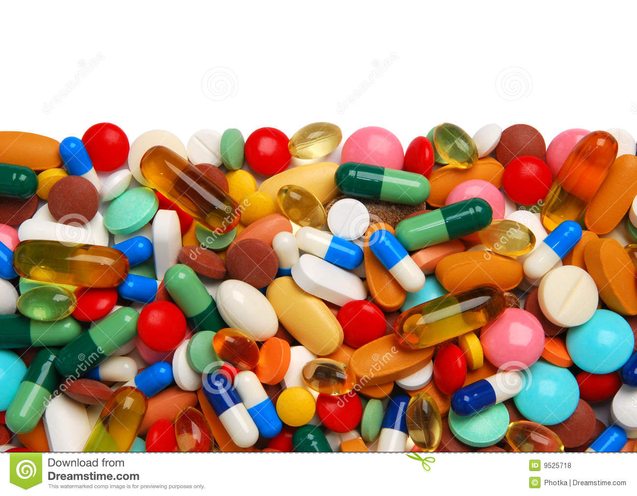 Plenty of colorful pills, tablets and capsules border.