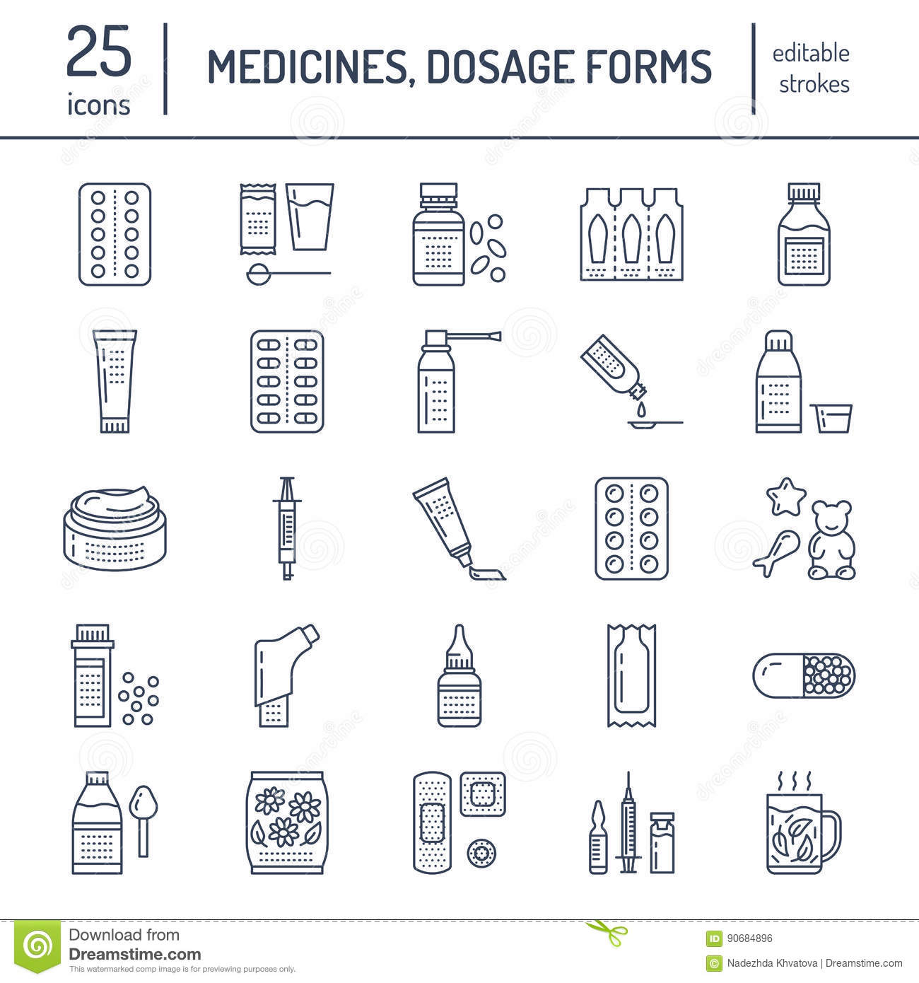 Medicines, dosage forms line icons. Pharmacy medicaments, tablet, capsules, pills, antibiotics, vitamins, painkillers