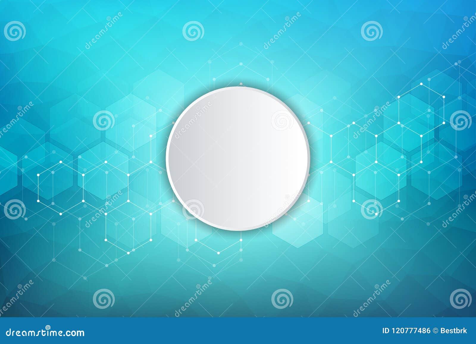 Medicinsk bakgrund för vektor från sexhörningar Geometriska beståndsdelar av designen för moderna kommunikationer, medicin, veten
