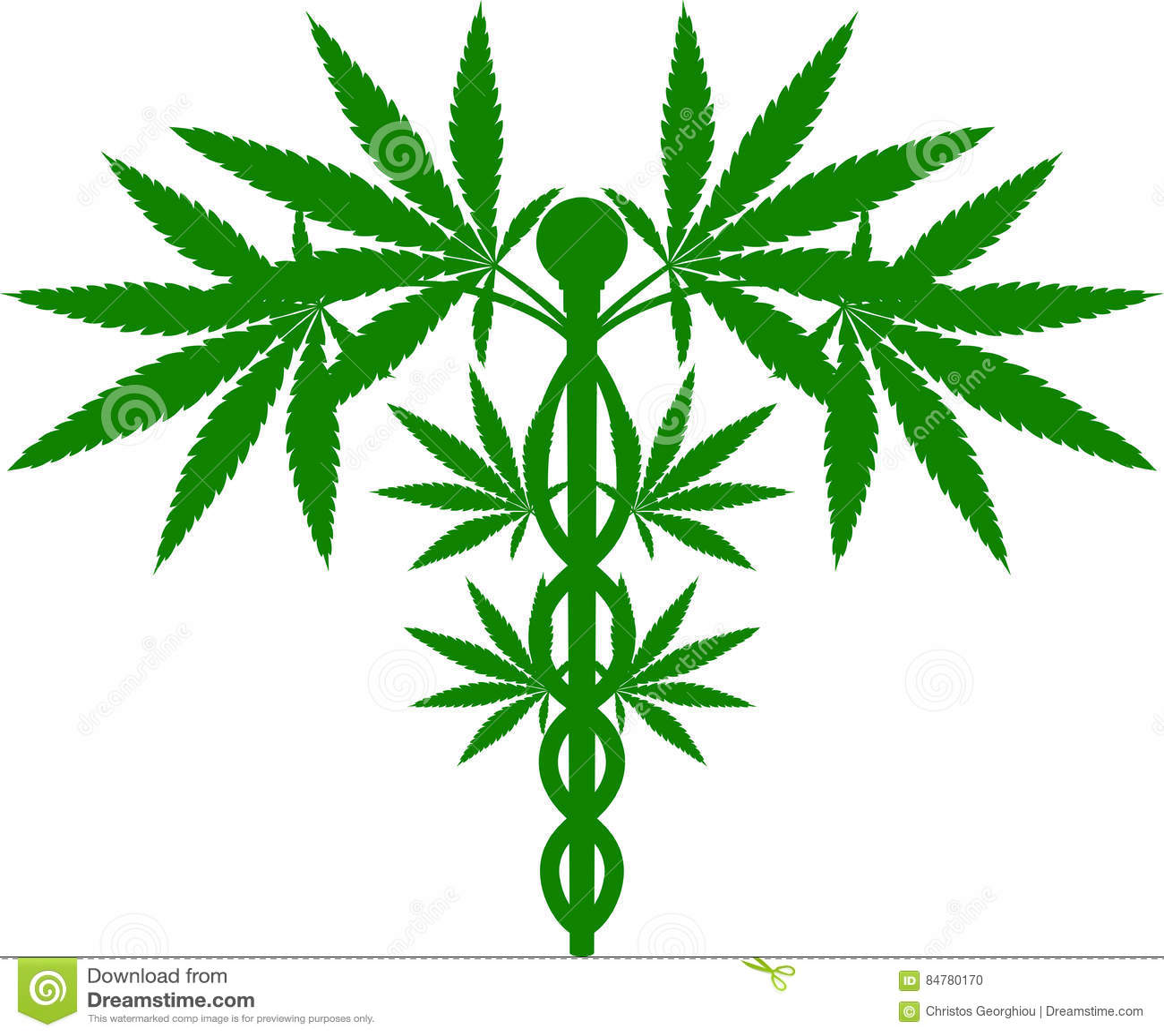 Medicinsk Caduceus för marijuanaväxt