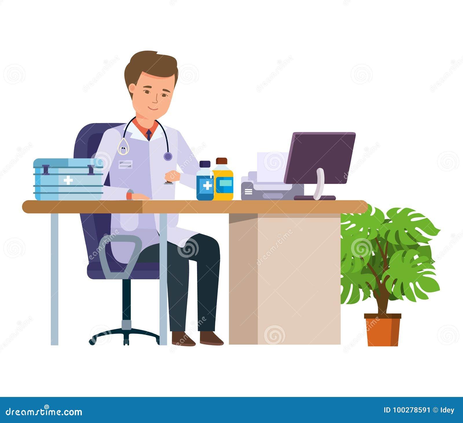 Medicinsk doktor för tecken Sjukvård och medicinsk hjälp Kontor för doktors` s