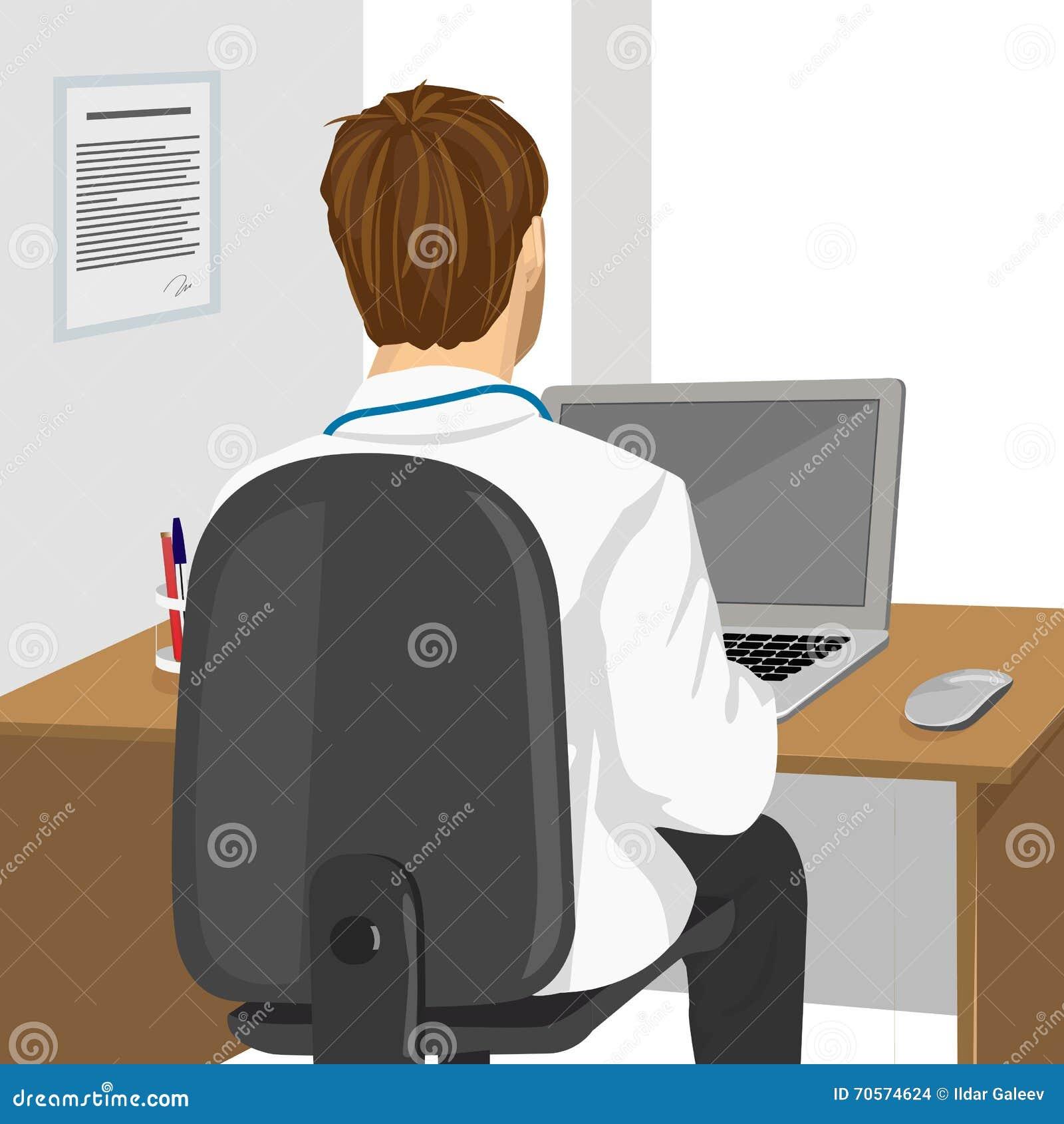 Medicinsk doktor som använder bärbara datorn i klinik