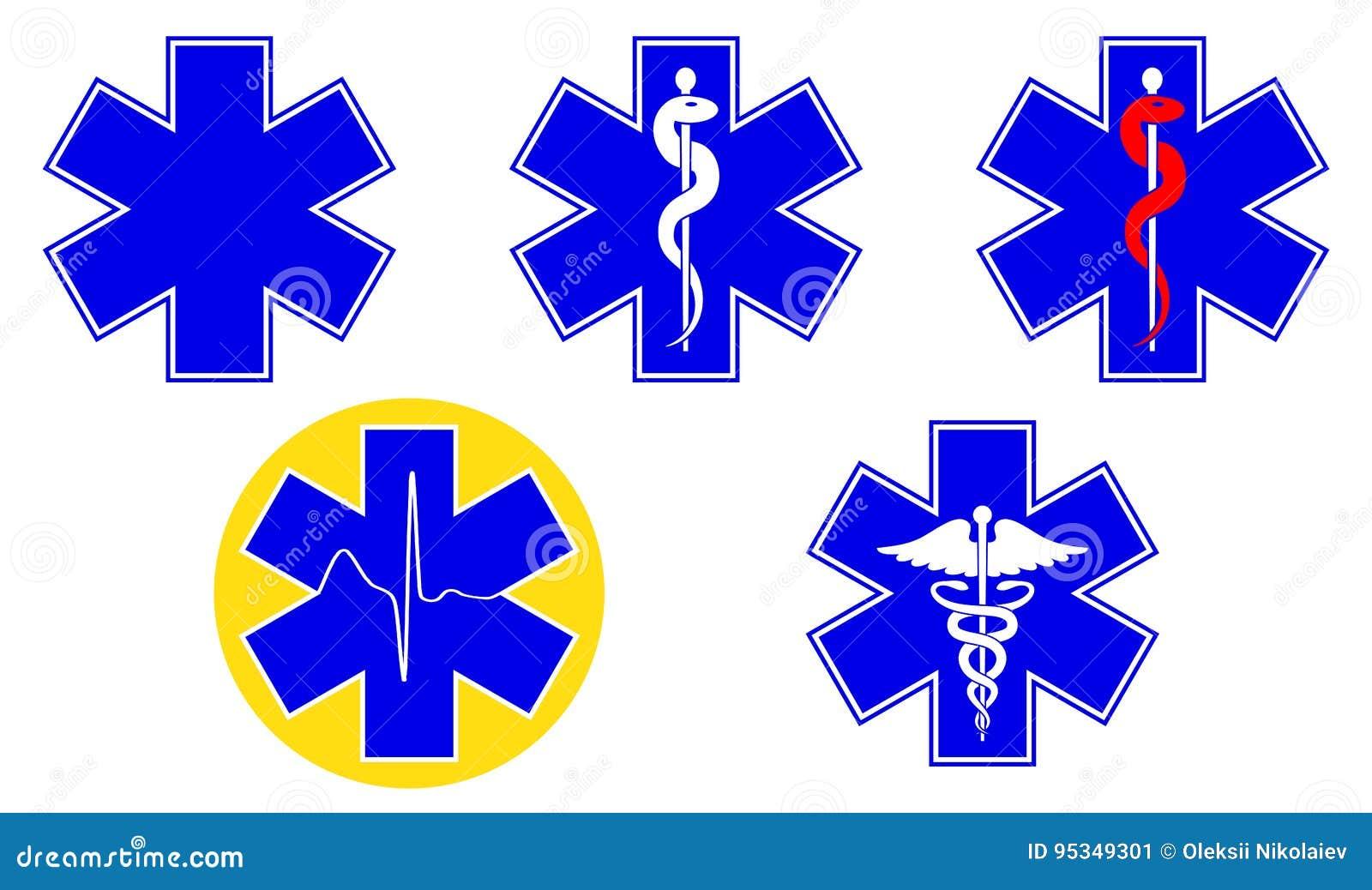 Medicinsk internationell symboluppsättning Stjärna av liv, personal av Asclepius, caduceus, vektor