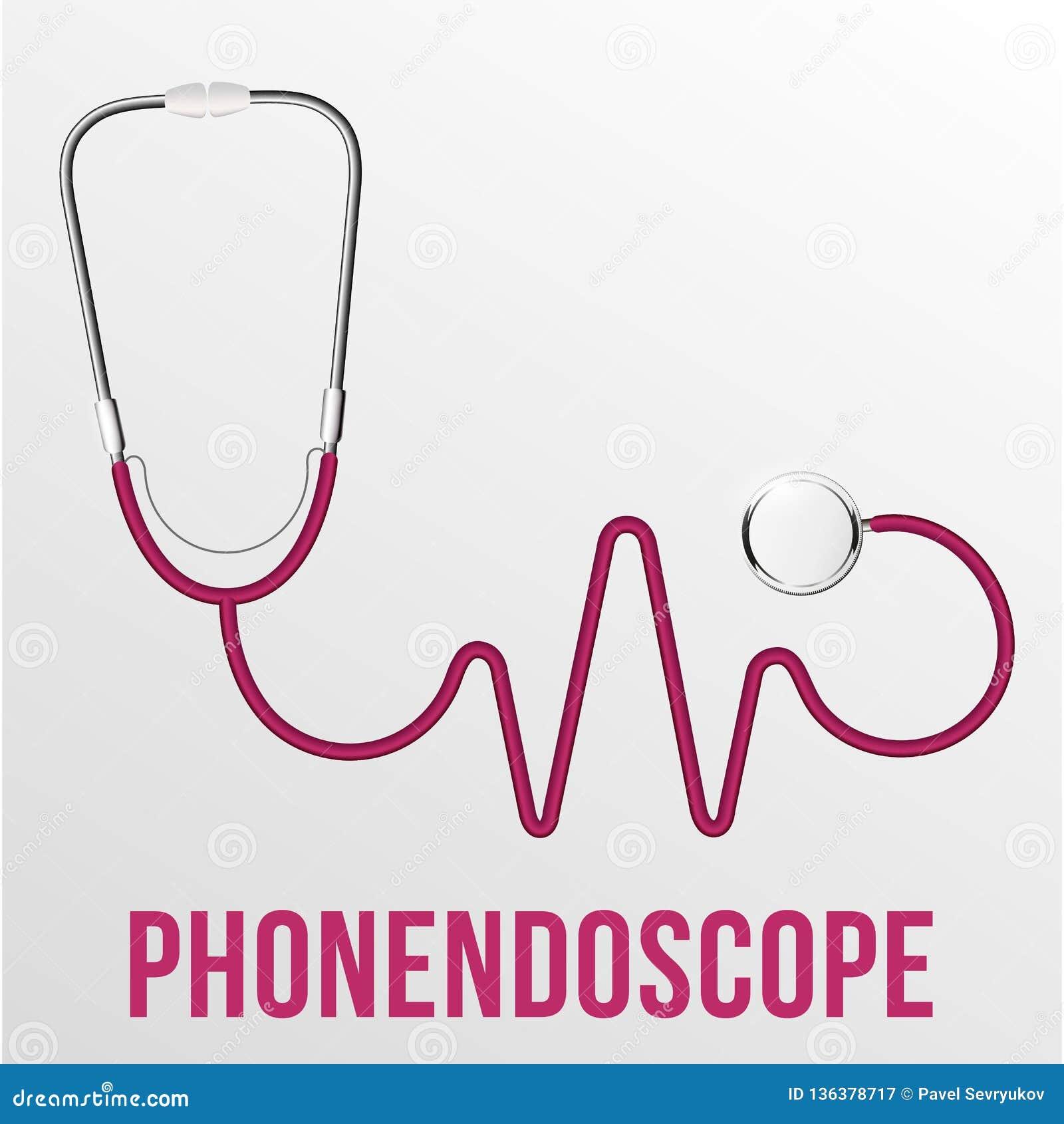 Medicinsk Phonendoscope isolerad vektor Medicinsk diagnos Röd hjärta