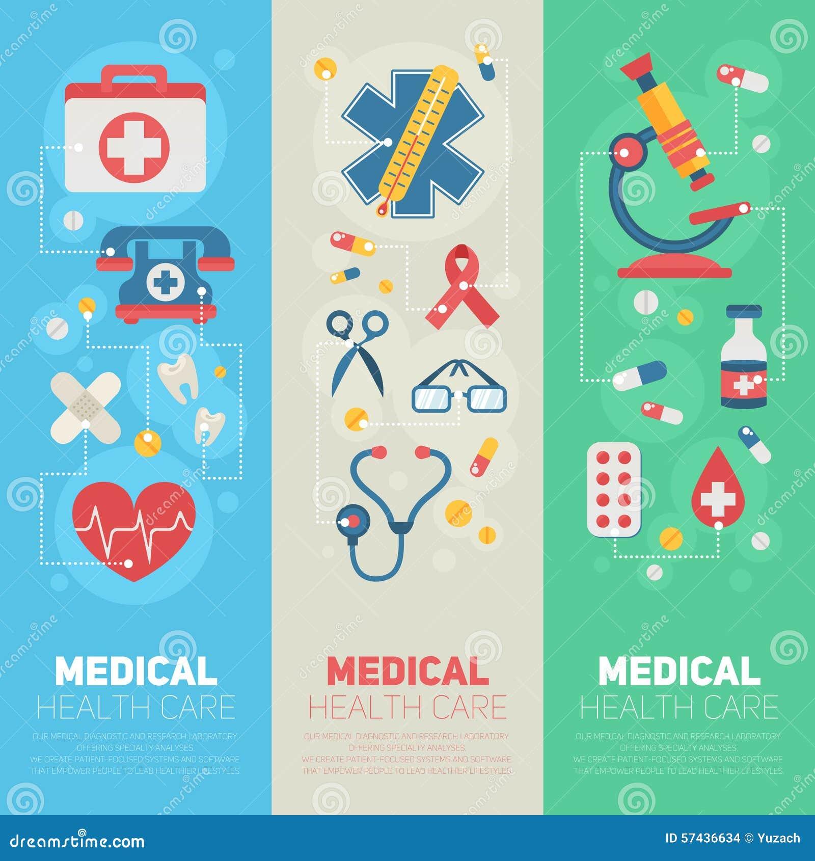 Medicinska banermallar i moderiktig plan stil