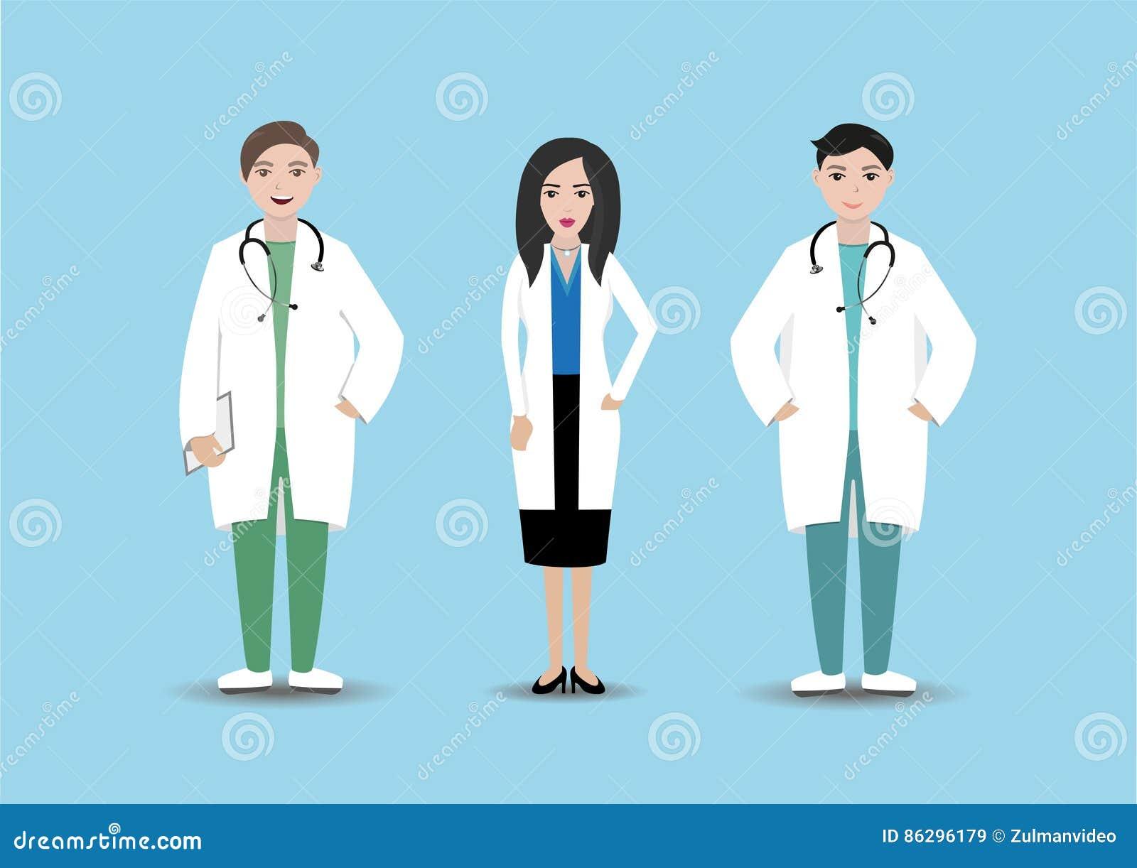 Medicinska personaler i sjukhus Isolerade doktorer med mappen och stetoskopet på blå bakgrund Klinikpersonal